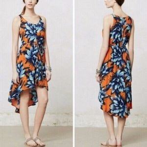 Anthropologie Maeve Blue Sunset Hibiscus Dress